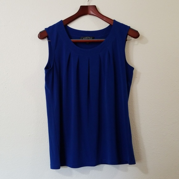 0d4c0d6fe8c4c Kasper Tops - Kasper Royal Blue Dress Tank Top Sleeveless Blouse
